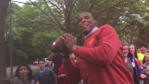 Video - Cam Newton plays pickup with starstruck 7th graders