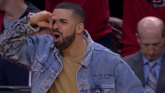 Drake fired up after Raptors' 3-pointer