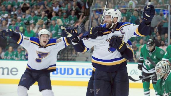 Blues prevail in OT to level series with Stars
