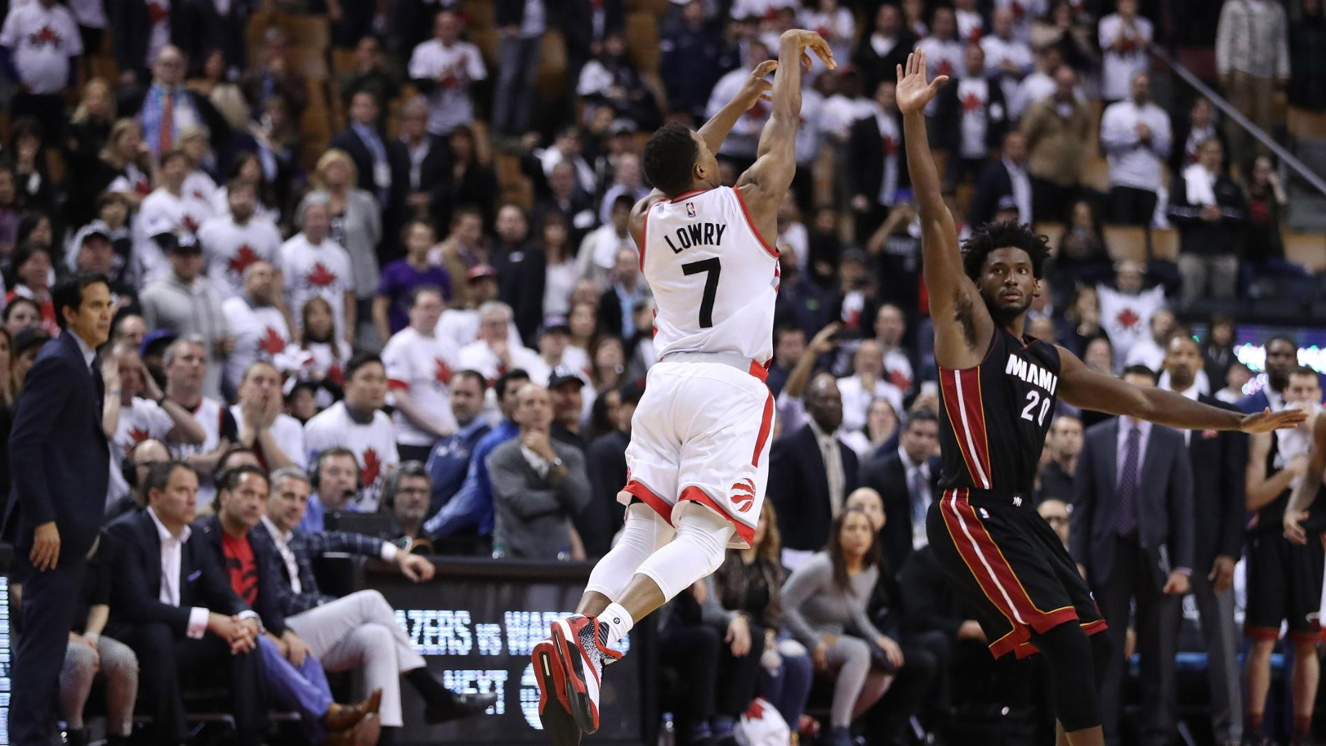 Lowry's half-court heave forces OT, Toronto erupts