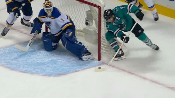 Pavelski stuffs it in for first goal of game