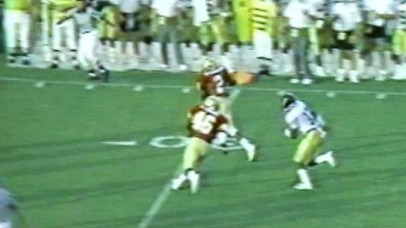 Deion Sanders' pick-six on Brett Favre