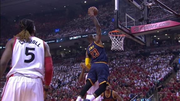 LeBron fakes and throws down the hammer