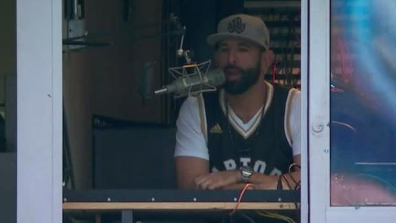 Bautista tries his hand at PA announcing during suspension