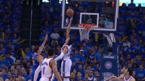 Roberson sends Thompson's shot flying
