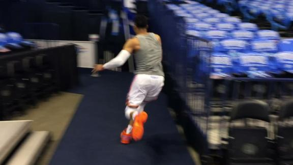 Westbrook scrambles to tunnel after pregame deep corner 3
