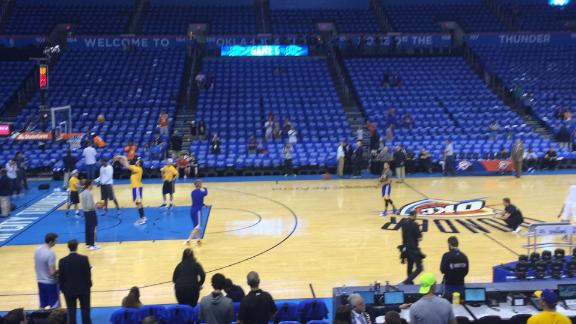 Steph Curry goes 5-of-7 on his launches from the halfcourt logo.