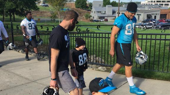 Parker Cowherd of the Make-A-Wish Foundation gets to hang out with the Panthers