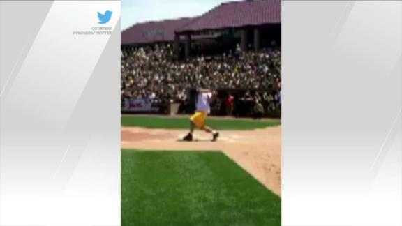 Video - Aaron Rodgers channels his inner little league slugger