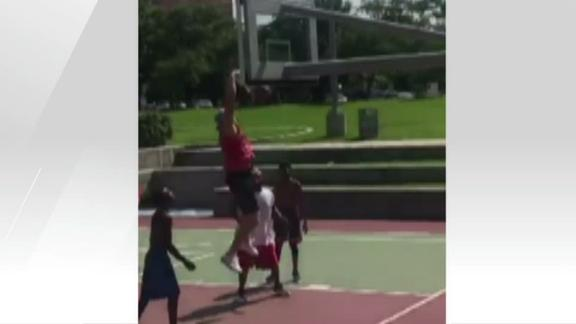 Video - Watt dishes and dunks in pickup basketball game