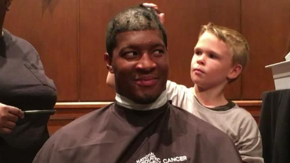 Video - Jameis Winston shaves head for Pediatric Cancer Foundation