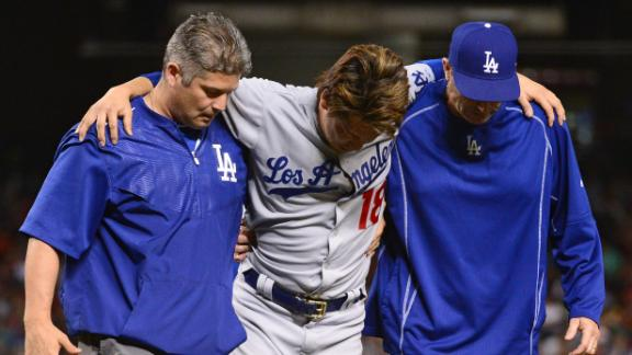 Maeda exits game after getting drilled in leg by comebacker
