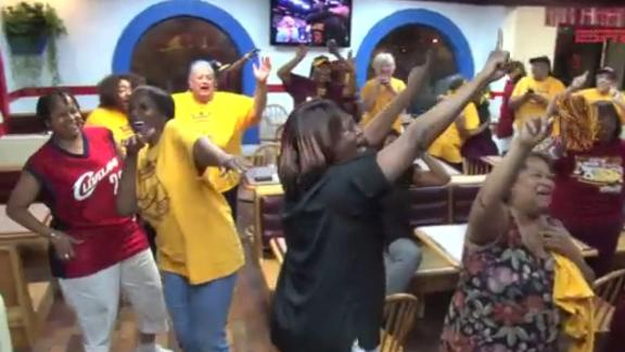 Priceless reaction from the LeBron James Grandmothers' Fan Club
