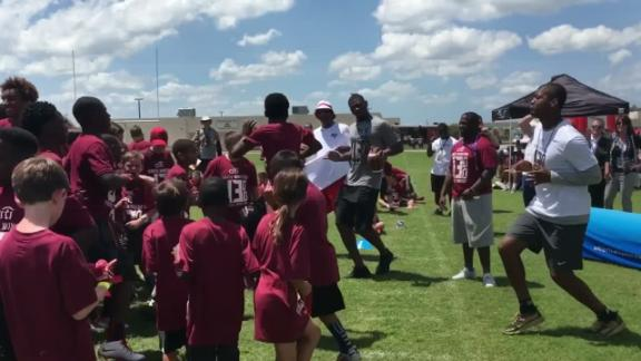 Video - Winston gets his groove on with kids at camp