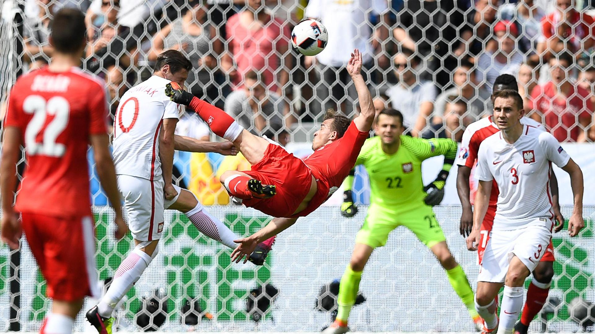 Shaqiri's glorious bicycle kick ties it for Swiss