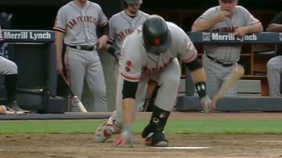 Posey fouls ball off foot, exits game