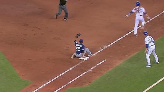 Dominguez gets low to the ground with his butt for the out