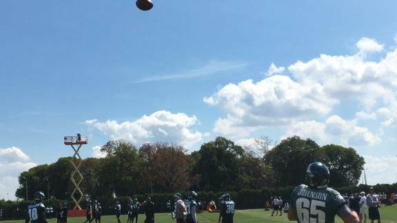 Eagles offensive line making catches