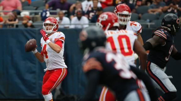 Foles shows off the arm; Hill makes shoestring grab