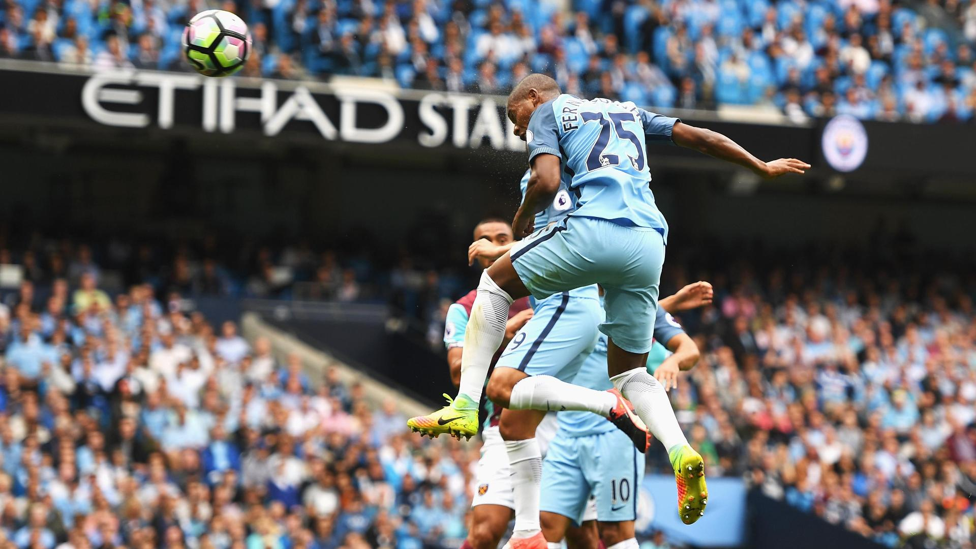 Fernandinho's powerful header gives Manchester City 2-0 lead