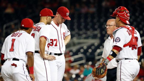 Strasburg's return short-lived, exits in third
