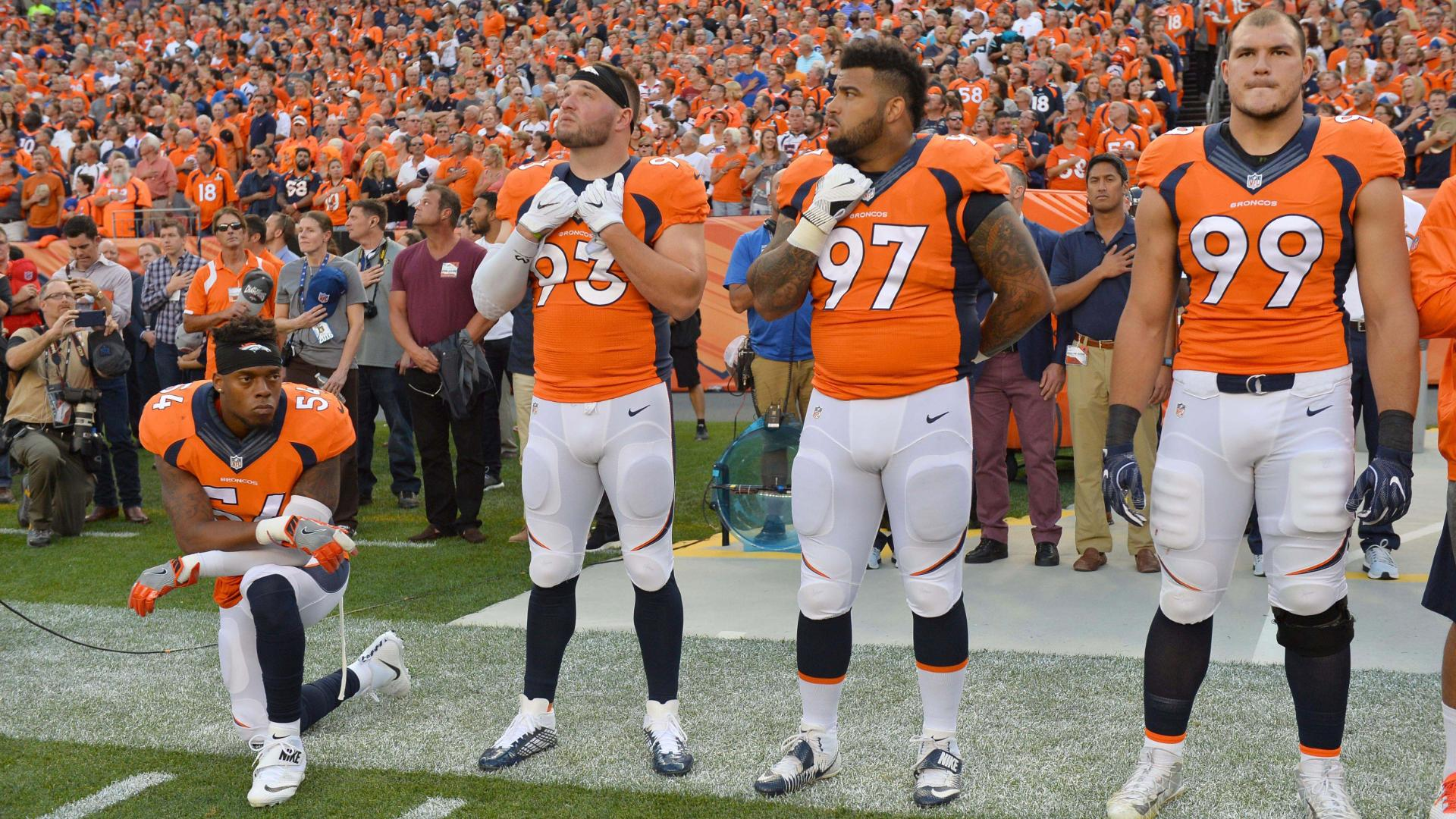 Broncos LB Marshall kneels for national anthem