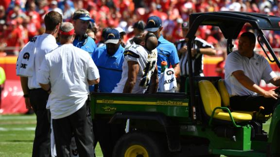 Allen carted off with knee injury