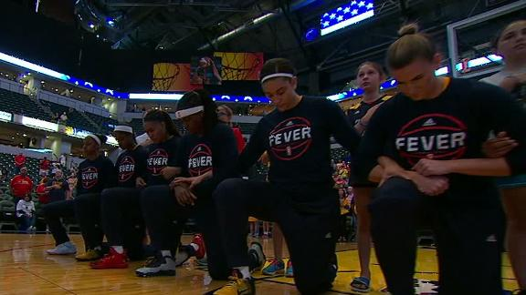 Fever team kneels during the anthem, coach is proud