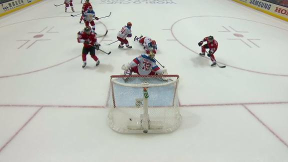 Crosby finds Marchand to even up score for Team Canada
