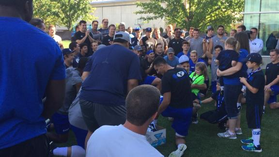 BYU's True Blue Hero at practice today. Amazing scene for Lucy,