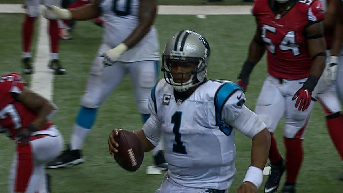Newton gets rocked at the goal line, leaves the game with concussion