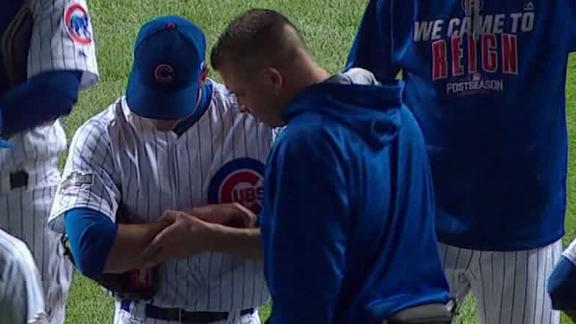 Kyle Hendricks leaves game after getting hit by line drive