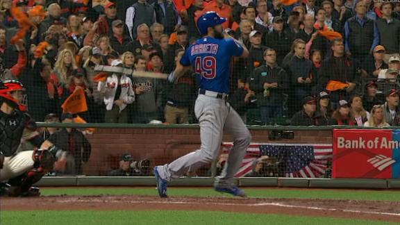 Arrieta takes Bumgarner deep for three-run HR