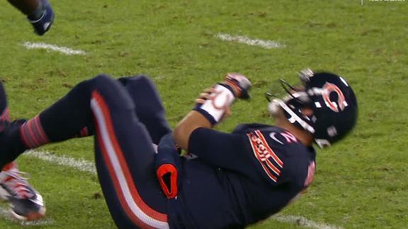 Hoyer breaks arm on hard hit