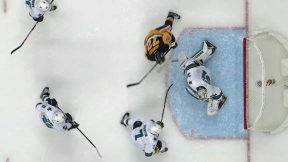 Penguins score three goals in third to top Sharks