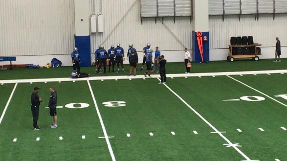 Lions offensive line working on fumble recovery