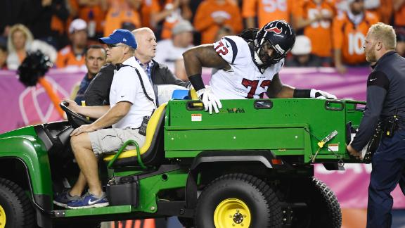 Texans RT Newton carted off with right knee injury