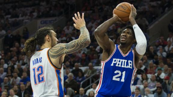Joel Embiid flashes star potential in his delayed NBA debut
