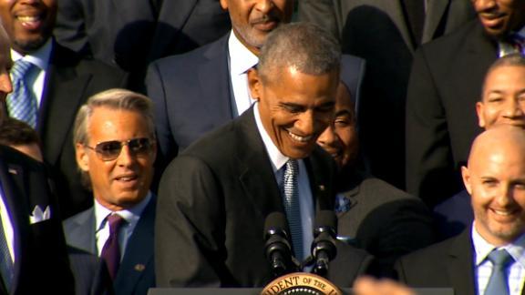 Obama appreciative J.R. Smith shows up with shirt on