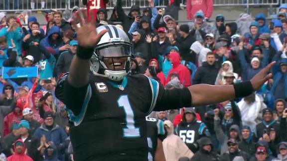 Newton dabs after plowing into the end zone for TD