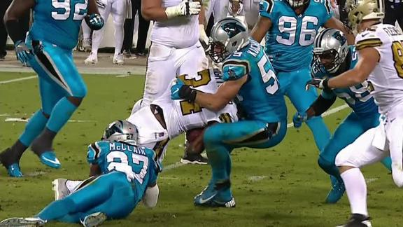 Kuechly carted off after taking a tough hit