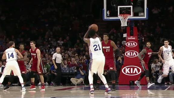 Embiid drains easy 3-pointer