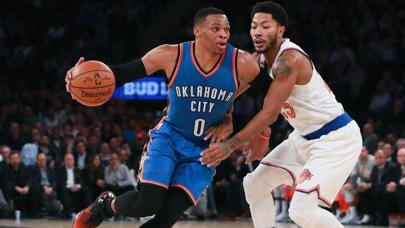 Westbrook's third straight triple-double lifts Thunder past Knicks