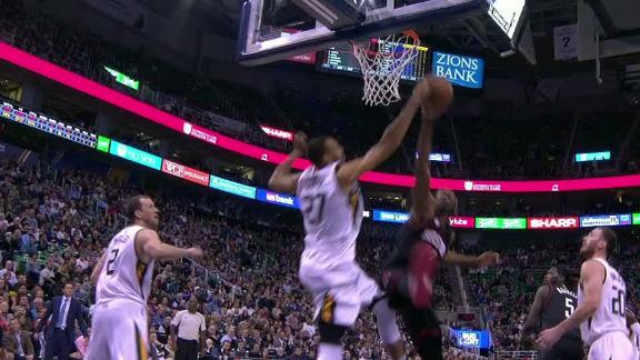 Nene challenges Gobert, Gobert answers with block