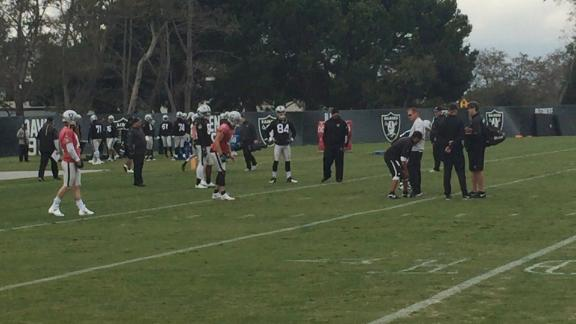 Carr practices with glove on right hand