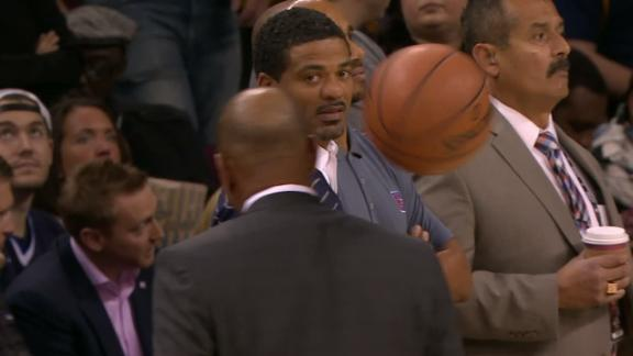 Doc Rivers gets a ball thrown at his head