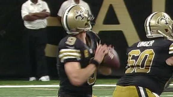 Drew Brees' record streak of home TD passes ends in loss to Lions