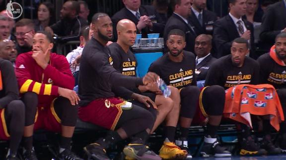 LeBron's water-bottle challenge spills onto court