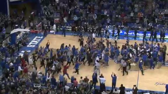 Indiana State stuns Butler to set off court storming