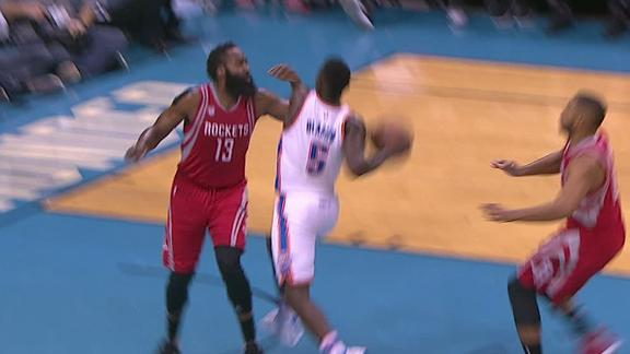 Oladipo uses Euro step to get past Harden